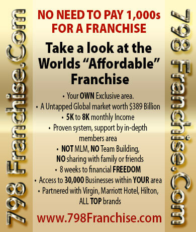 "World's most affordable Franchise, AMAZING ROI, ""Exclusive"" areas, open in 192 Countries"